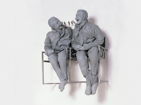 Two Seated on the Wall, 2000, private collection  The estate of Juan Munoz